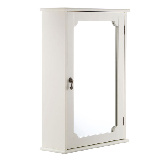 ramona bathroom wall cabinet in ivory with 1 mirrored door
