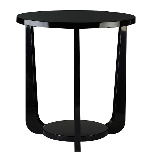 Acton Side Table Round In Black High Gloss