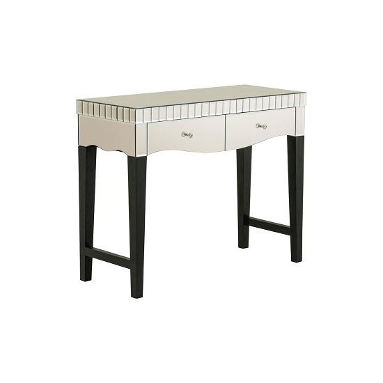 Matlock Mirror Console Table In Champagne With 2 Drawers