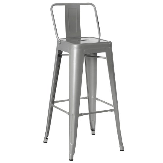 Claremont Metal Bar Stool Square In Grey
