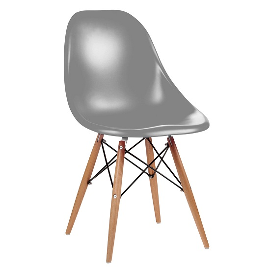 Osborne Modern Dining Chair In Grey ABS With Wooden Legs