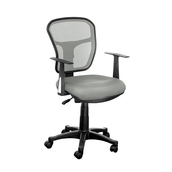 Santo Office Chair In Grey Padded Fabric With Mesh Back Rest