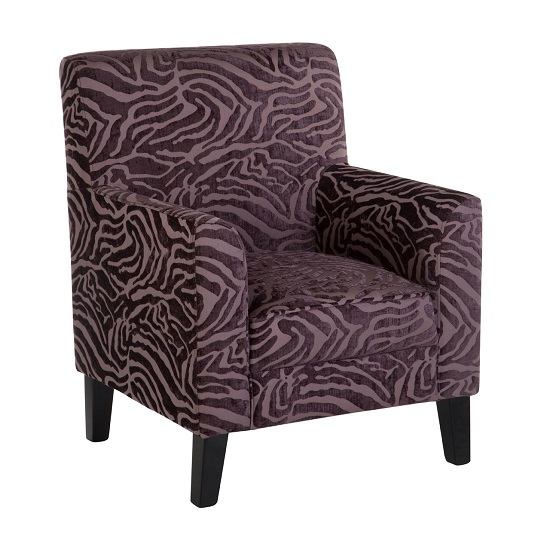 Wembley 1 Seater Sofa In Purple Fabric With Wooden Legs