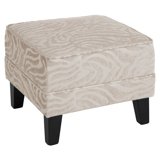 View Wembley foot stool in natural fabric with wooden legs
