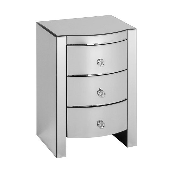 Bozen Curved Bedside Cabinet In Mirror Glass With 3 Drawers