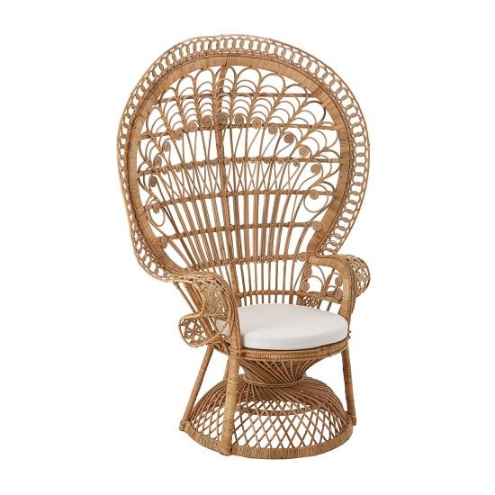 Sara Lounge Or Bedroom Chair In Rattan Natural Peacock Design
