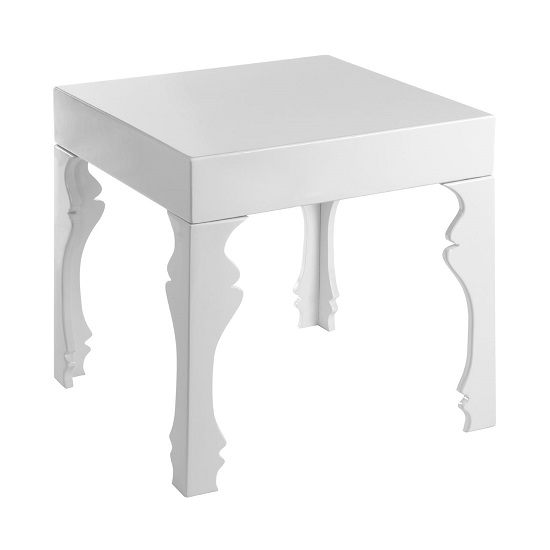 Louis Side Table Square In White High Gloss With 1 Drawer