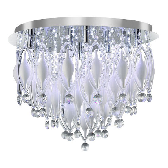 Spindle 9 LED Chrome Semi Flush Ceiling Light With Remote