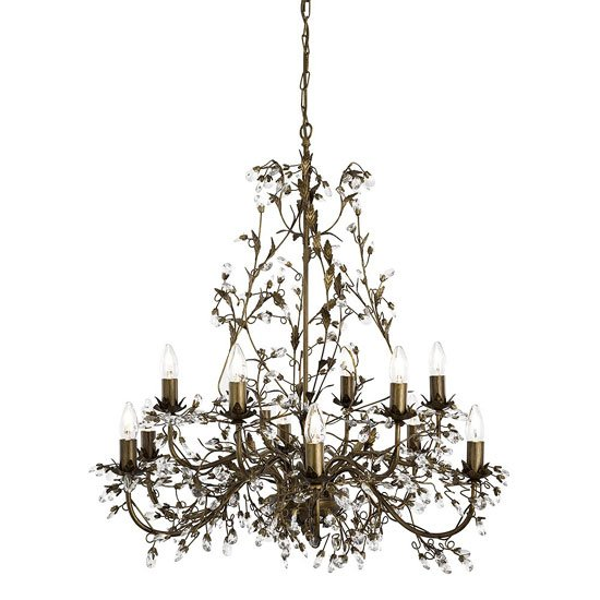 Almandite Brown & Gold Ceiling Light With Crystal Dressing
