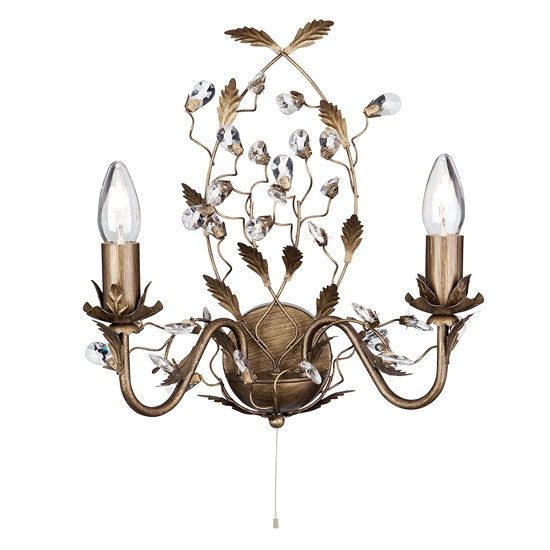 Almandite Brown & Gold Wall Light With Crystal Droplets