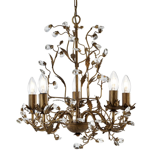 Almandite Chandelier Ceiling Light With Crystal Droplets