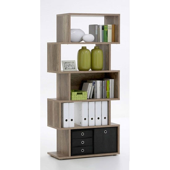 Kubi Shelving Unit In Wild Oak With 5 Compartments