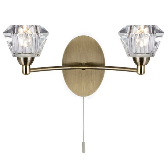 Read more about Sierra antique brass wall light with sculptured glass shade