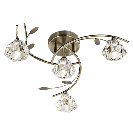 Read more about Sierra antique brass ceiling light with sculptured clear glass
