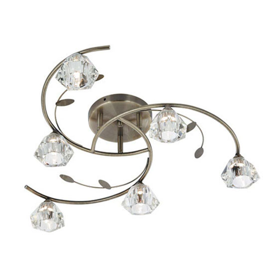 Read more about Sierra 6 antique brass ceiling light with sculptured clear glass