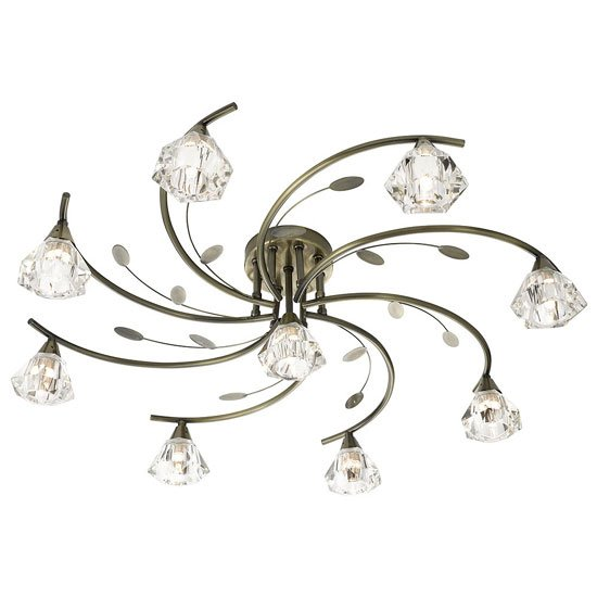 Read more about Sierra 9 antique brass ceiling light with sculptured clear glass