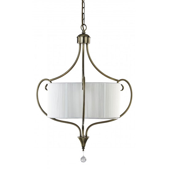 3 Light Antique Brass Ceiling Pendant With White String Shade