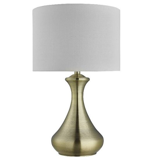Antique Brass Touch Cream Fabric Shade Table Lamp