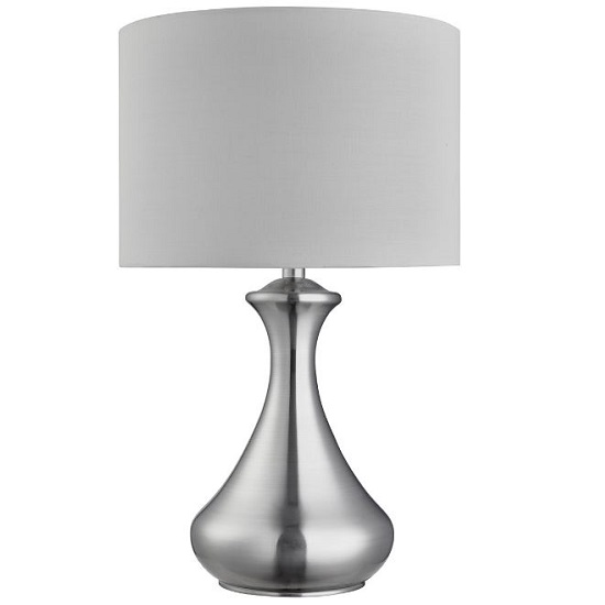 Satin Silver Touch White Fabric Shade Table Lamp