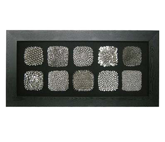 Framed 10 silver squares wall art