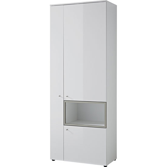 Cadiz Display Cabinet Tall In White With Gloss Fronts And LED