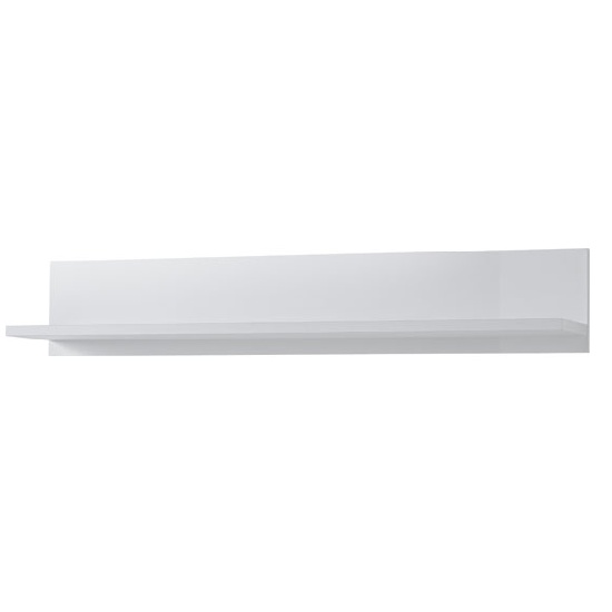 Cadiz Wall Mounted Display Shelf In White With High Gloss Front