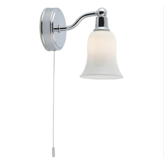Belvue Chrome Pull Cord Wall Light With Opal Glass Shade