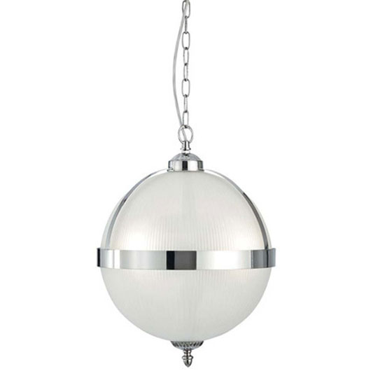 Read more about Triple light globe ceiling pendant finished in satin silver