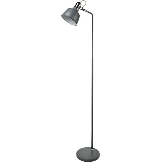 Beautiful Floor Lamp In Matt Grey With Chrome Detail