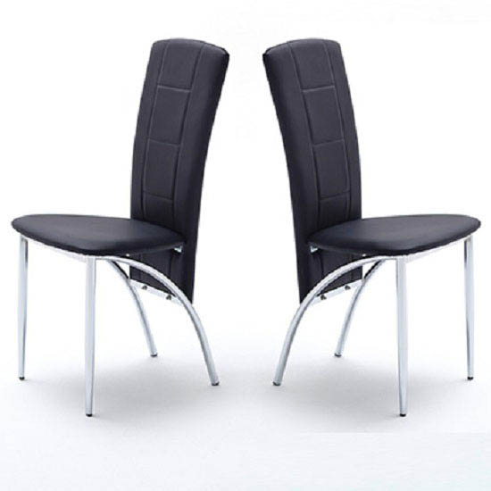 Berit Black Faux Leather Dining Chairs In A Pair