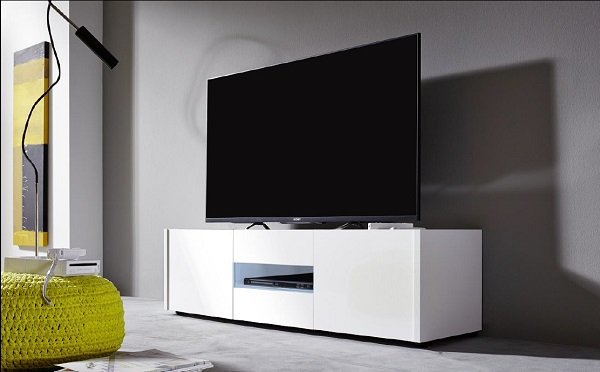 Cannes LCD TV Stand In White Gloss With 3 Doors And LED Lighting_4