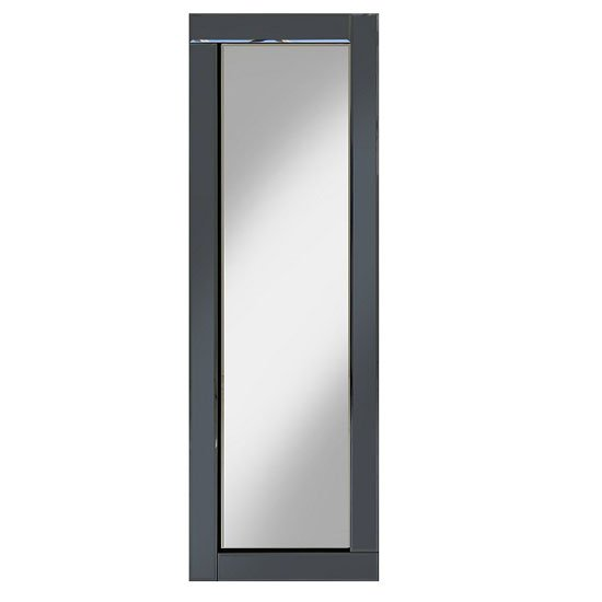 Bevel 120x40 Wall Mirror In Smoke Grey Glass Border