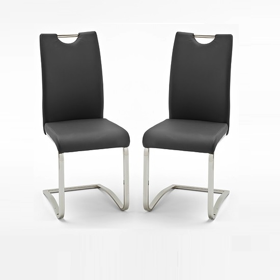Koln Dining Chair In Black Faux Leather in A Pair