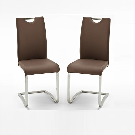 Koln Dining Chair In Brown Faux Leather in A Pair