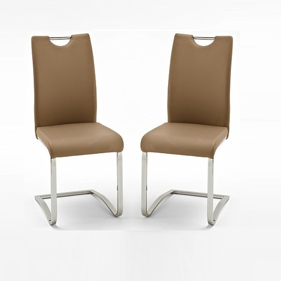 Koln Dining Chair In Cappuccino Faux Leather in A Pair