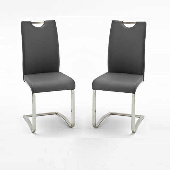koln dining chair in grey faux leather in a pair 26660. Black Bedroom Furniture Sets. Home Design Ideas