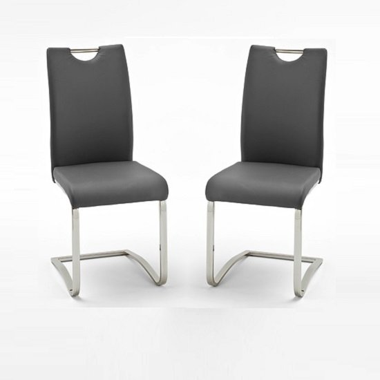 Koln Dining Chair In Grey Faux Leather in A Pair