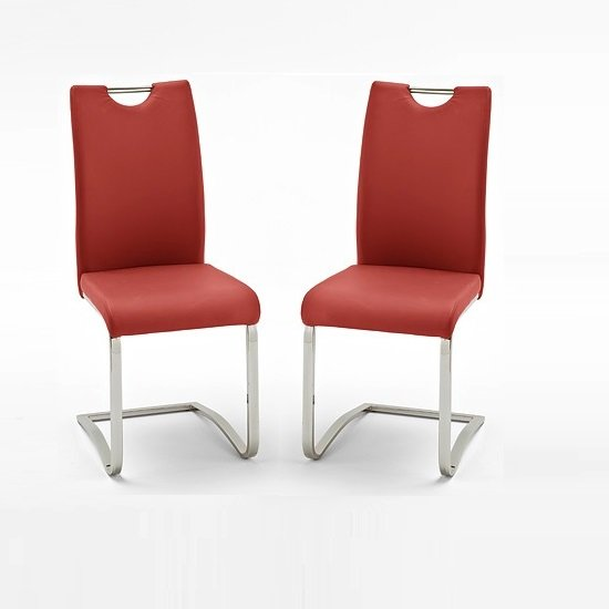 Koln Dining Chair In Red Faux Leather in A Pair