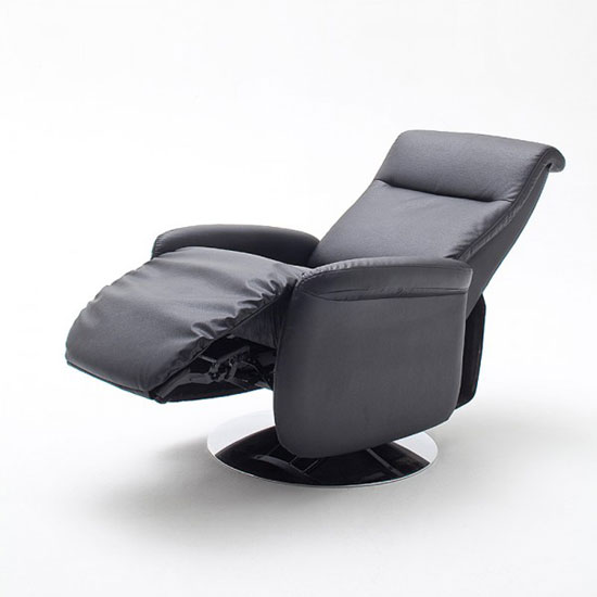 Almeida Rotating Reclining Chair In Black Leather And Metal Base_2