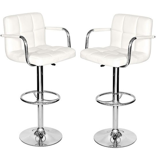 Glenn Bar Stools In White Faux Leather In A Pair 25416