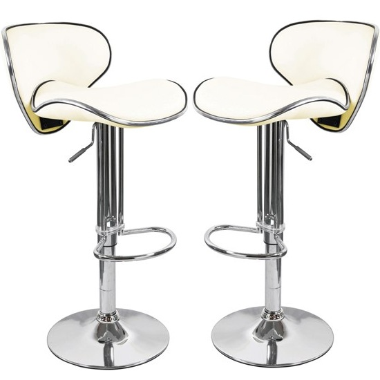 Duo Bar Stools In Cream Faux Leather in A Pair