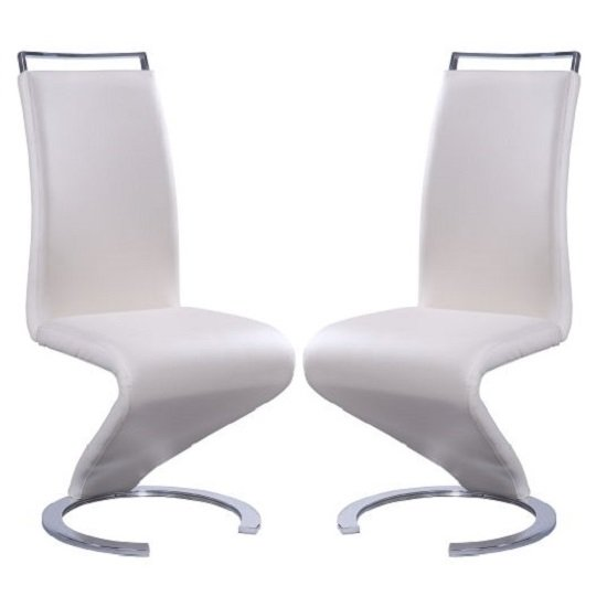 Summer Z Shape Dining Chair In Cream Faux Leather A Pair