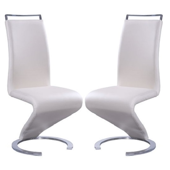 Summer Z Shape Dining Chair In Cream Faux Leather in A Pair