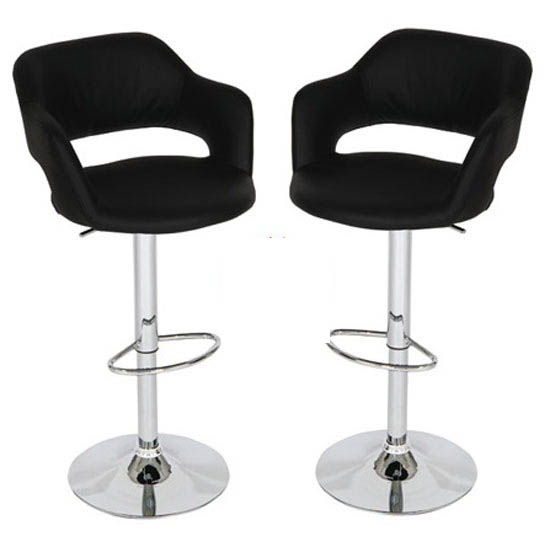 Leah Bar Stools In Black Faux Leather in A Pair