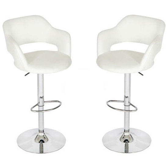 Leah Bar Stools In White Faux Leather in A Pair