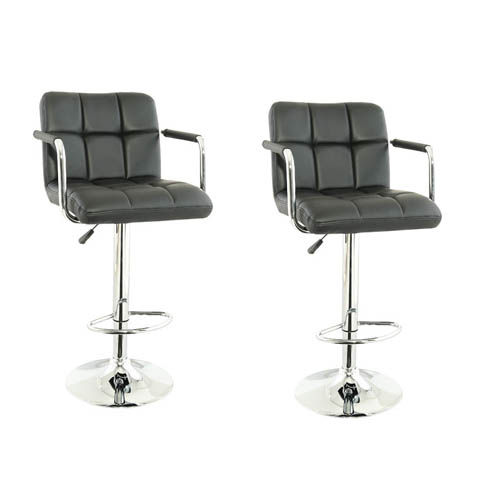 Corin Bar Chairs In Black Faux Leather in A Pair