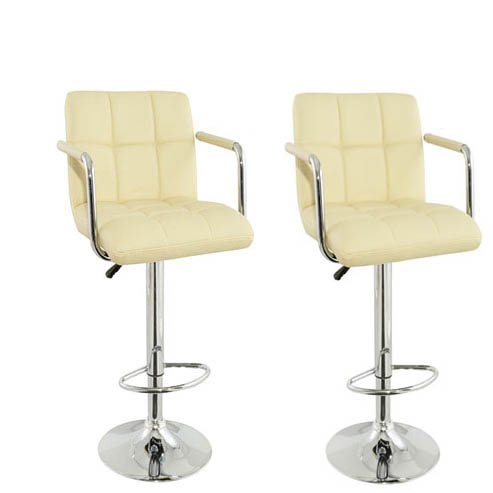 Special Offer,2xCorin Height Adjustable Cream Bar Chair for £120