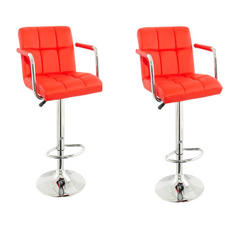 Corin Bar Chairs In Red Faux Leather in A Pair