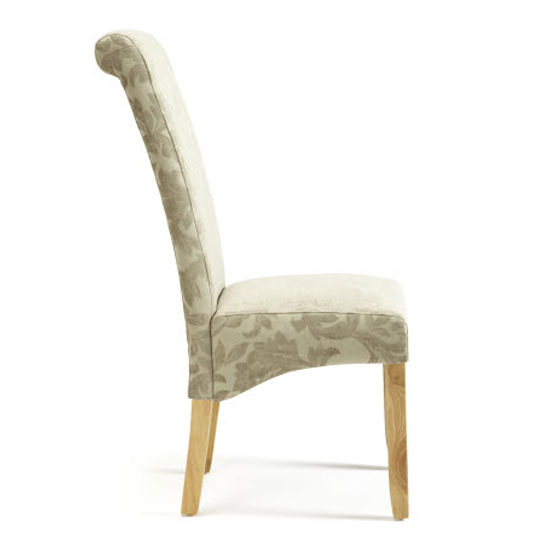 Ameera Dining Chair In Floral Sage Fabric And Oak in A Pair_3