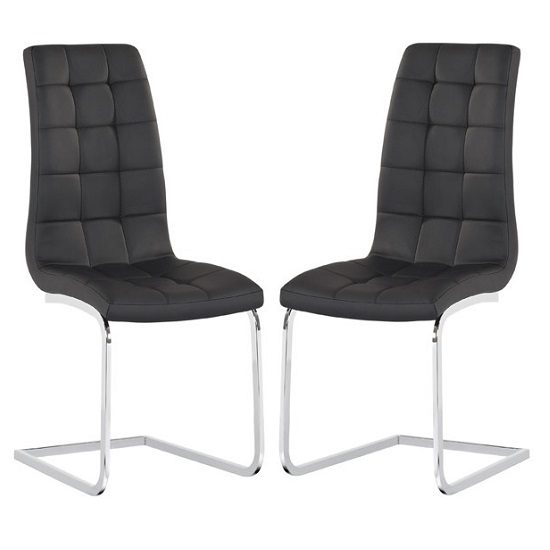 Torres Dining Chair In Black Faux Leather in A Pair
